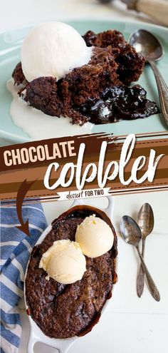 This easy dessert to impress is one of the best! This Southern chocolate cobbler recipe for two features a brownie with a bottom layer of hot fudge sauce. Serve with vanilla ice cream and enjoy!