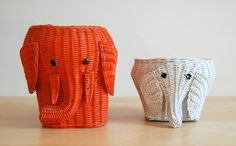 Pair of Colorful Wicker Elephant Baskets via Etsy