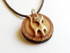 Wooden necklace Tibetan silver cat and wood necklace Tibetan