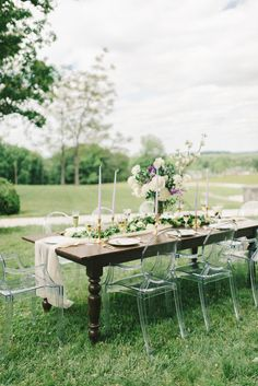 Wood Wedding Table with Ghost Chairs | photography by http://elizabethfogartyphotography.com/