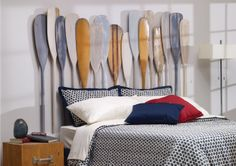 In a Row Headb-oar-d - A random collection of colourful rowboat and canoe paddles will create waves of admiration in your Home Bedroom, Kids Bedroom, Bedroom Beach, Nautical Bedroom, Lake Decor, Room Goals, Home Hardware, Diy Bed, Headboards For Beds
