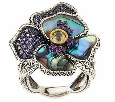 Barbara Bixby Sterling/18K Abalone and Gemstone Pansy Ring 381.96 5 epay 76.40