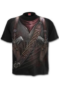 Spiral Gothic Steampunk T-Shirt with Holster Wrap AO Design