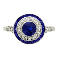 TIFFANY & CO Sapphire and Diamond Target Cluster Ring United States, my own wedding ring is a diamond/then sapphire version. circa 1920