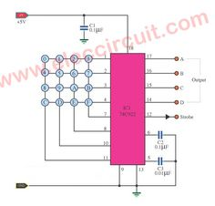 In the design of the BCD signal generator circuit by pressing a key. Here is how you make a keyboard encoder circuit for 16 keypads. Circuit Diagram, Arduino, Keyboard, Bar Chart, Engineering, Digital, Keys, Electronic Circuit, Charger