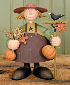 Girl Holding Pumpkins and Rake Figurine – Harvest Folk Art Figurines & Thanksgiving Collectibles – Williraye Studio $37.00