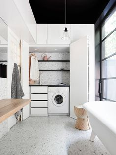 If space is at a premium, then consider the trend of a small European laundry. With European laundry ideas, inspiration & design tips, we will ensure you are on the right path for an efficient small modern laundry. Laundry Bathroom Combo, Laundry Cupboard, Laundry Closet, Laundry Rooms, Bathroom Gray, Bathroom Small, Bathroom Towels, Master Bathroom, Concealed Laundry