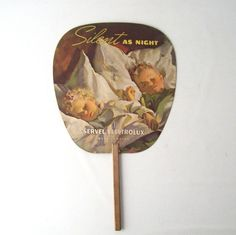 vintage paper hand fan advertisement electrolux refridgerator ad retro decorative home decor children sleeping silent night christmas kids