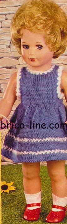 Robe pour poupée Pour poupée d'env. 43 cm de haut et 25 à 27 cm de tout de taille - http://www.brico-line.com/fr/index.php/ouvragesk2/item/1087-robe-pour-poupee