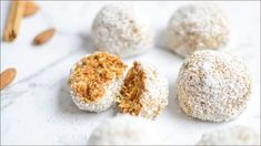 Low Carb Protein Bars, Protein Bites, Protein Ball, Homemade Carrot Cake, Dairy Free Snacks, Almond Recipes, Healthy Baking, A Food, Food Processor Recipes