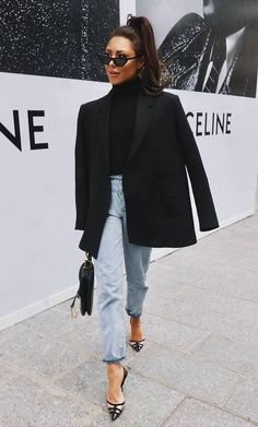 25 Great Minimalist Outfits You Should Try chic outfit idea / black blazer boyfriend jeans top bag heels Mode Outfits, Jean Outfits, Fall Outfits, Casual Outfits, Blazer Dress, Blazer And Jeans Outfit Women, Black Blazer Outfits, Black Blazer With Jeans, Urban Chic Outfits