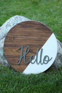 Items similar to Hello sign on Etsy, Wooden Crafts, Wooden Diy, Wooden Signs, Walnut Stain, Dark Walnut, Wood Wreath, Hello Sign, Wooden Door Hangers, Wood Rounds