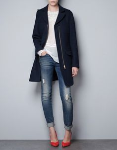 coat, jeans, pumps