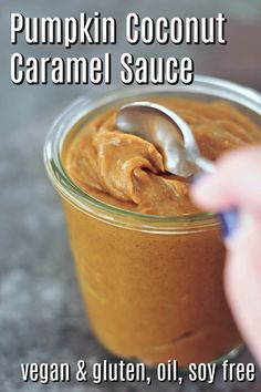 this easy vegan Pumpkin Coconut Caramel Sauce recipe with quick prep will fill your kitchen with warm scents of autumn - a delicious update on caramel! Vegan Pumpkin, Pumpkin Recipes, Fall Recipes, Holiday Recipes, Vegan Sweets, Vegan Desserts, Health Desserts, Vegan Food, Health Foods