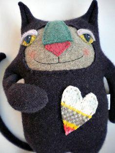 Stuffed Animal Cat Upcycled Sweater Purple by sweetpoppycat