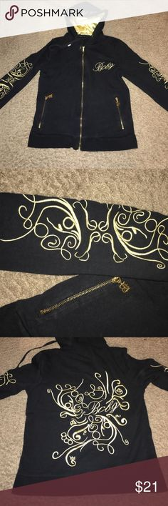 Black & gold BCBG jacket Beautiful jacket. It is made from a stretchy material. It has matching pants but they are a large. BCBG Jackets & Coats