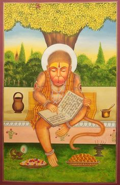 Lord Hanuman Offering Prayer Reciting the Ramayana