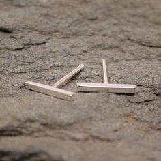 Minimalist Jewelry 10mm Small Bar Studs Thin Silver by SARANTOS, $22.00