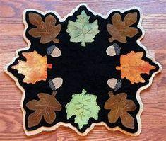 PATTERN Fallen Leaves Wool Applique' Candle Mat