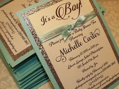 Custom Handmade Tiffany Turquoise & Silver Glitter Baby Shower Invitation Simple Elegant Babyshower Invitations
