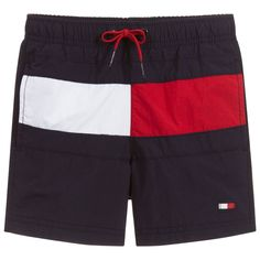 8f85d3f030 Boys navy blue swimming shorts by Tommy Hilfiger. These part-lined shorts  have a