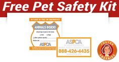 ASPCA Pet Safety Pack (It is absolutely free, ships directly from the ASPCA, takes wks to receive) ♥ Safety Kit, Free Stuff By Mail, Shopping Sites, Free Samples, Saving Money, Packing, Pets, House Hacks, Pizza Hut
