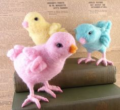 These three colourful chick gals are dressed in their Sunday best and are heading out for a day of frolic and fun! How could you not have fun