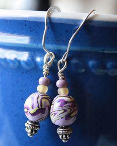 Psychedelic Purple Polymer Clay Earrings by eccentricsunshyne