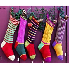 Kristin Nicholas Designs Colorful Christmas Stockings PDF in New Knitting Patterns at Webs Christmas Stocking Pattern, Knitted Christmas Stockings, Christmas Knitting, Xmas Stockings, Purple Christmas, Christmas Makes, Merry Christmas, Christmas Things, Christmas 2016
