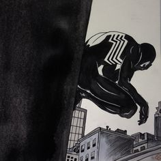 """longlivespidey: """"With great power… Comes great responsibility. - Uncle Ben #blacksuit #symbiote #spiderman #spidey #uncleben #webhead #webslinger #wallcrawler #marvelmonday #marvel #comics #amazingspiderman #art #artist #ink #brush #copic #markers..."""