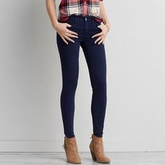 AEO Sateen X Jegging (Jeans) ($45) ❤ liked on Polyvore featuring jeans, navy blue, american eagle outfitters jeggings, navy blue jeans, american eagle outfitters, stretchy jeans and american eagle outfitters jeans