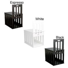 @Overstock - Crafted from solid wood, this wooden pet crate is a stylish alternative to unsightly pet kennels and perfectly complements most house decor. This wooden pet crate is available in espresso, white and black finishes.http://www.overstock.com/Pet-Supplies/Wooden-Dog-Crate/5309914/product.html?CID=214117 $117.99