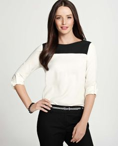 This top is so perfectly blocked.  Pair it with a neutral belt and heels and you can wear this with a black pant or capri.