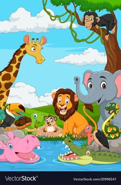 Cartoon african landscape with wild animal Vector Image , Jungle Animals Pictures, Cartoon Sea Animals, Cartoon Monkey, Cartoon Fish, Pet Monkey, Zoo Animals, Art Drawings For Kids, Drawing For Kids, Kindergarten Drawing