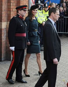 HRH The Queen and Catherine Duchess Of Cambridge, (Kate Middleton) arrive at Leicester City Station as part of The Queen's Diamond Jubilee Tour on March 8, 2012 in London, UK.