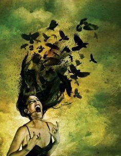 Amazing piece of art! Girl screaming bird hair