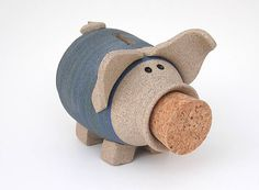 Piggy Bank - Wheel Thrown Stoneware - Made in Maine by Caryn Burwood of Concepts in Clay via Etsy
