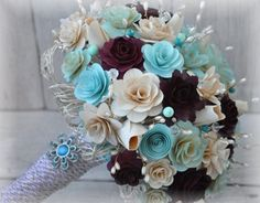 Wood and Paper Wedding Bouquet or Centerpiece - Elegant, affordable and will last long after the wedding. What else can you ask for?