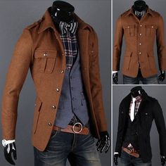 Mens Sexy Designed Fashion Slim Fit Long Sleeve Front Pockets Outwear Coats Jackets by kiki lee