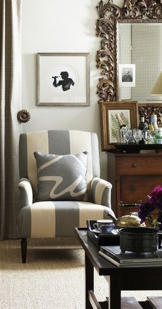 Joe Ruggiero likes wide stripes. It makes you want to spend time there, and isn't that the point of design? Poltrona Bergere, Deco Originale, Living Spaces, Living Room, Interior Decorating, Interior Design, Apartment Design, Beautiful Interiors, Decoration
