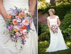 Cascading Purple and Pink Bouquet | Photographer: Tracy of Timmester Photography | Florist: Holly Chapple Flowers