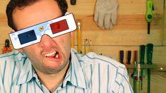 Aprenda fazer e como funciona um super óculos 3D caseiro. Sem gastar dinheiro e com materiais baratos, como papel e plástico, você poderá construir seus óculos 3D em casa - um brinquedo educativo simples e de material reciclável. Perfeito para crianças!