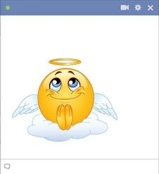 Angel Facebook Emoticon - Be a little angel with this gorgeous and cute angel smiley for Facebook!