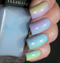 Skittle gradient manicure with the Illamasqua Pastels Blow, Caress, Nudge and Wink. The Swatchaholic blows my mind.