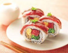 菜の花とアメリカン・ビーフのステーキ巻き寿司