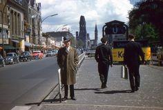 West Berlin Street Scene 35mm Slide 1956 Cars Germany
