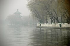 A misty day on the Hutong, old city in Beijing outside of the Forbidden City, China.