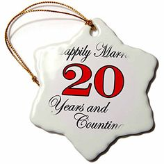 3dRose orn_193404_1 Happily Married 20 Years  Counting Red Snowflake Porcelain Ornament 3 >>> This is an Amazon Affiliate link. Details can be found by clicking on the image.
