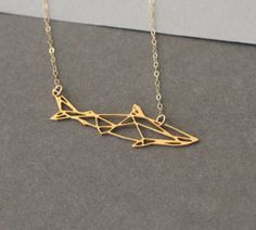 Geometric shark golden pendant shark shark by WildThingStudio