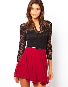 Lace detail top and flowy red skirt